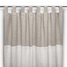 Tenda a bastone in lino moderna bianco panna cuore di lino for Tende con laccetti