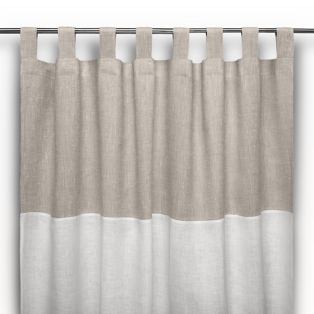 Tenda a bastone in lino ajour bicolore cuore di lino for Tende con laccetti