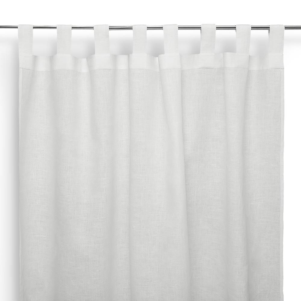 Tenda a bastone in lino asole bianco panna cuore di lino for Tende con laccetti