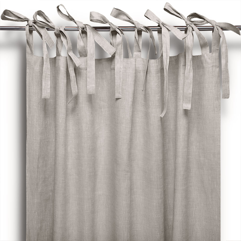 Tenda a bastone in lino lacci naturale cuore di lino for Tende con laccetti
