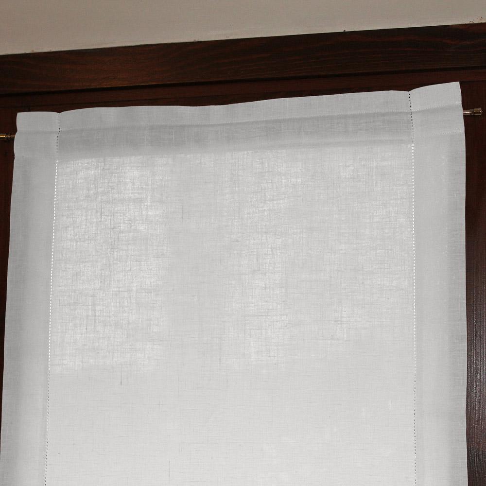 Tende A Vetro Bianche.Tenda A Vetro In Lino Ajour Bianco Panna Cuore Di Lino