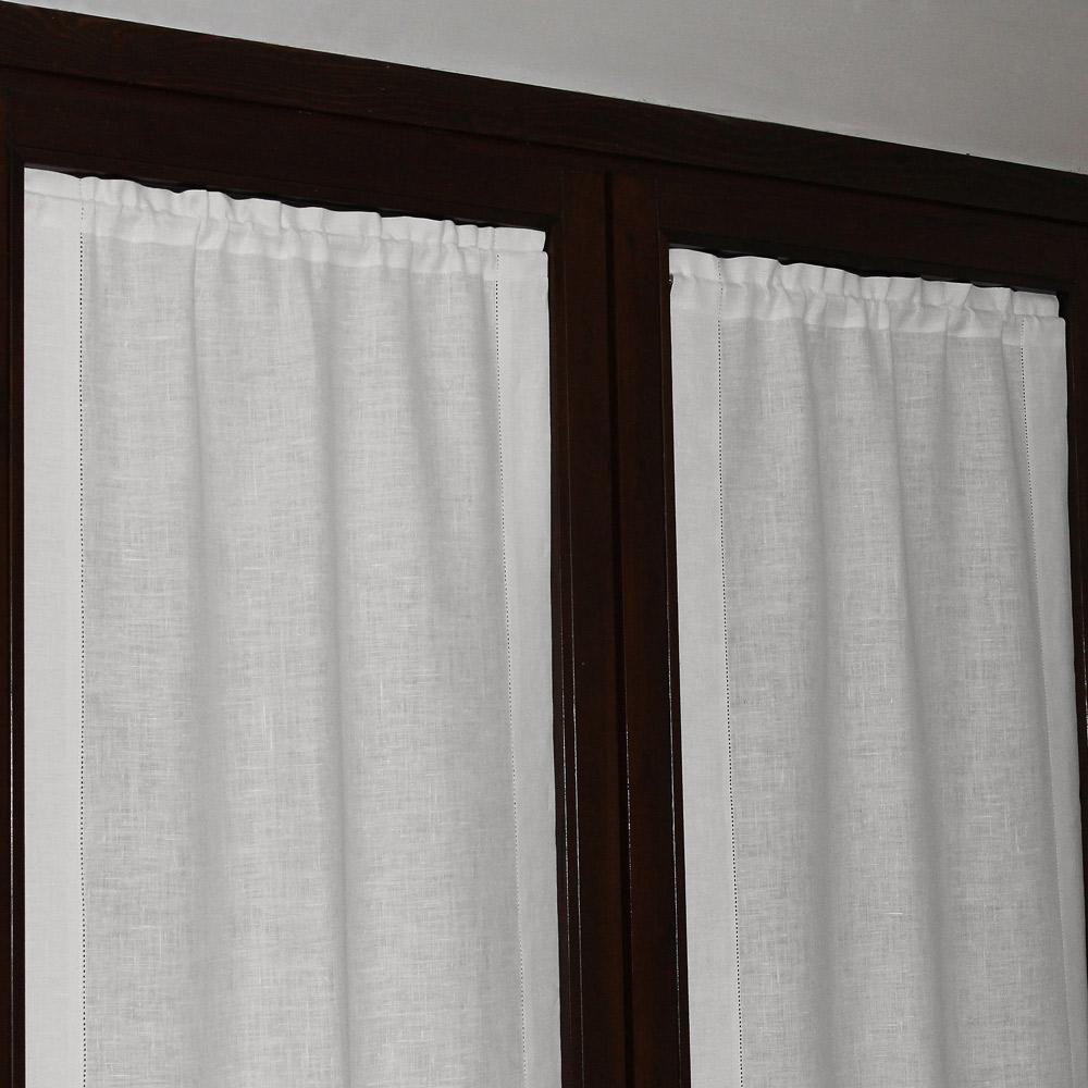 Tenda a vetro in lino ajour bianco panna cuore di lino for Tende cucina a vetro
